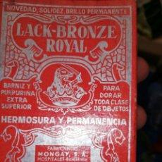 Antigüedades: ANTIGUA CAJA CON BOTELLA DE BARNIZ PURPURINA REPARADOR. MUY CUIDADA... PRECIOSA PRESENTACIÓN.. Lote 221409120