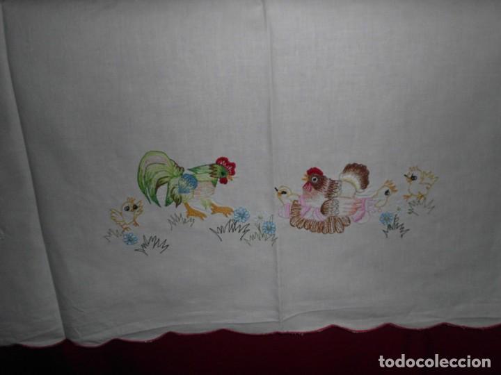 Antigüedades: Antiguo mantel de algodón bordados - Foto 3 - 221412608