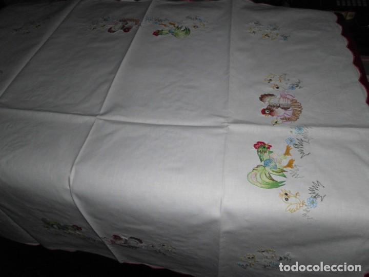 Antigüedades: Antiguo mantel de algodón bordados - Foto 4 - 221412608