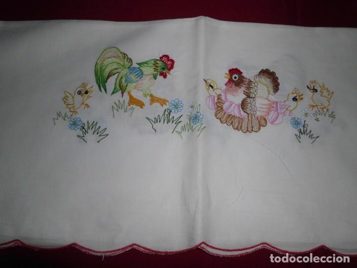 Antigüedades: Antiguo mantel de algodón bordados - Foto 6 - 221412608