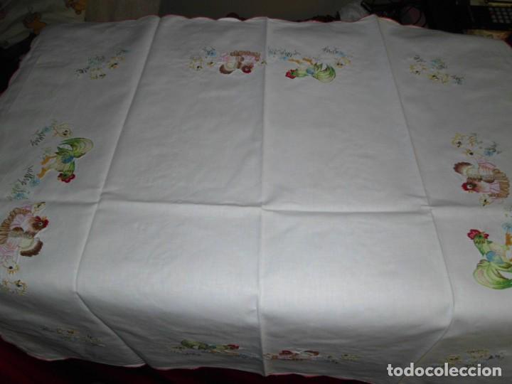 Antigüedades: Antiguo mantel de algodón bordados - Foto 9 - 221412608