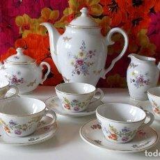 Antigüedades: JUEGO DE CAFE SANTA CLARA-5 SERVICIOS-AÑOS 50-60. Lote 221427461