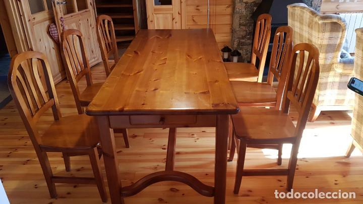 Antigüedades: Mueble comedor con mesa y seis sillas de pino blanco autentico, excelente conservacion. Solo recoger - Foto 3 - 221449435