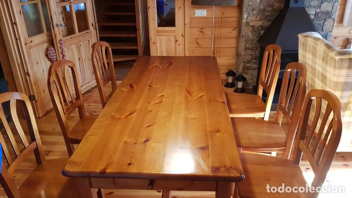 Antigüedades: Mueble comedor con mesa y seis sillas de pino blanco autentico, excelente conservacion. Solo recoger - Foto 7 - 221449435