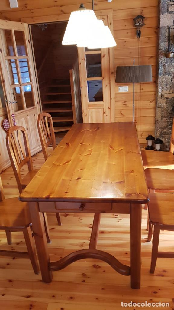 Antigüedades: Mueble comedor con mesa y seis sillas de pino blanco autentico, excelente conservacion. Solo recoger - Foto 8 - 221449435