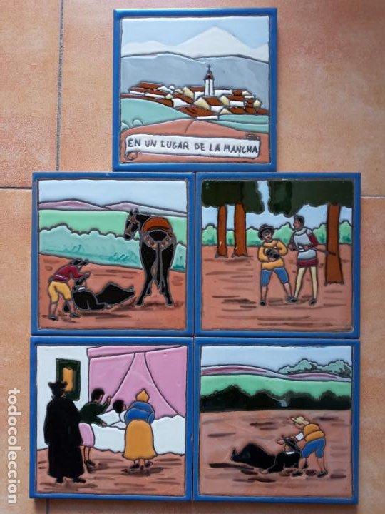 AZULEJOS SERIE EL QUIJOTE EN UN LUGAR DE LA MANCHA- MENSAQUE ROGRIGUEZ- TRIANA SEVILLA (Antigüedades - Porcelanas y Cerámicas - Azulejos)