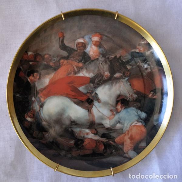 PLATO DE PORCELANA DECORADO CON CUADRO DE GOYA, SELLADO EN LA BASE GUILLEN (Antigüedades - Porcelanas y Cerámicas - Otras)