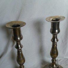 Antigüedades: PAREJA DE CANDELEROS DE BRONCE SIGLO XIX. Lote 221477468