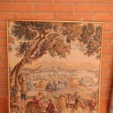 Antigüedades: ANTIGUO TAPIZ ITALIANO CON ESCENA BUCÓLICA DE CAZA. ENMARCADO.. Lote 221487281