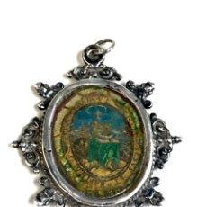 Antigüedades: S- ANTIGUO RELICARIO DEVOCIONARIO SG XVIII. MARCO EN PLATA. Lote 221502655