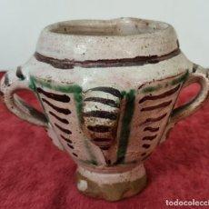 Antigüedades: MORTERO DE 3 ASAS. CERÁMICA ESMALTADA. DECORADA A MANO. TERUEL. SIGLO XVIII-XIX.. Lote 221538262