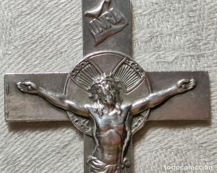 Antigüedades: CRUZ PECTORAL. PLATA. INICIALES JM AL DORSO. ESPAÑA. PRINC. S. XX - Foto 2 - 221541388
