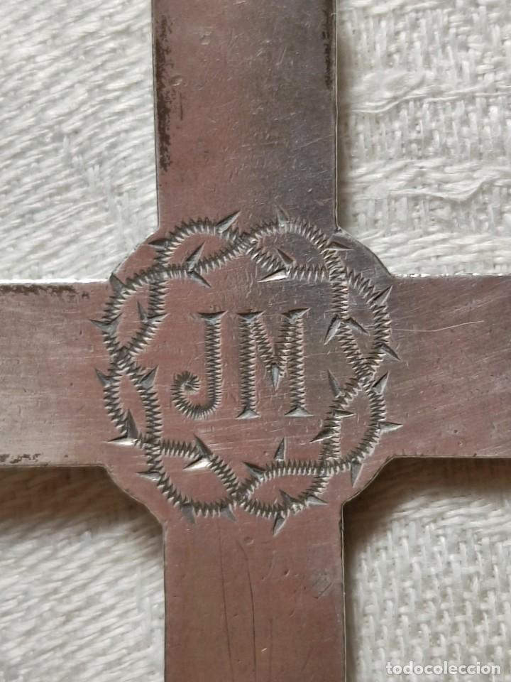 Antigüedades: CRUZ PECTORAL. PLATA. INICIALES JM AL DORSO. ESPAÑA. PRINC. S. XX - Foto 6 - 221541388
