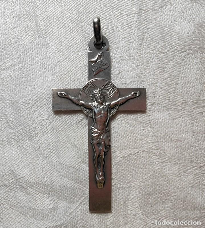 CRUZ PECTORAL. PLATA. INICIALES 'JM' AL DORSO. ESPAÑA. PRINC. S. XX (Antigüedades - Religiosas - Cruces Antiguas)