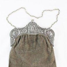 Antigüedades: BOLSO DE MALLA. BOQUILLA LABRADA, ÁNGELES. ALPACA CA 1890 - A EVENING MESH HANDBAG. PUTTI CHERUBS. Lote 221567881