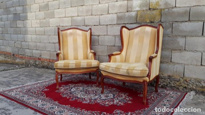 Antigüedades: 2 sillones orejeros antiguos estilo Luis XV. Pareja de butacas orejeras antiguas vintage. - Foto 2 - 221607332
