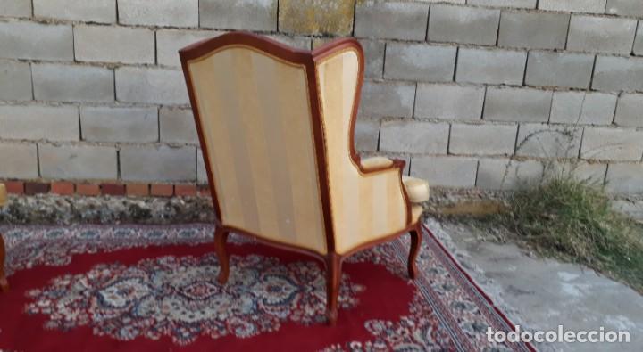 Antigüedades: 2 sillones orejeros antiguos estilo Luis XV. Pareja de butacas orejeras antiguas vintage. - Foto 3 - 221607332