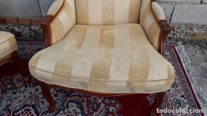 Antigüedades: 2 sillones orejeros antiguos estilo Luis XV. Pareja de butacas orejeras antiguas vintage. - Foto 4 - 221607332