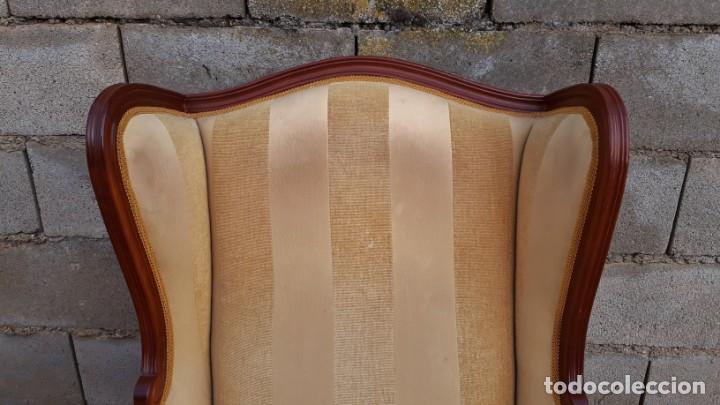 Antigüedades: 2 sillones orejeros antiguos estilo Luis XV. Pareja de butacas orejeras antiguas vintage. - Foto 5 - 221607332