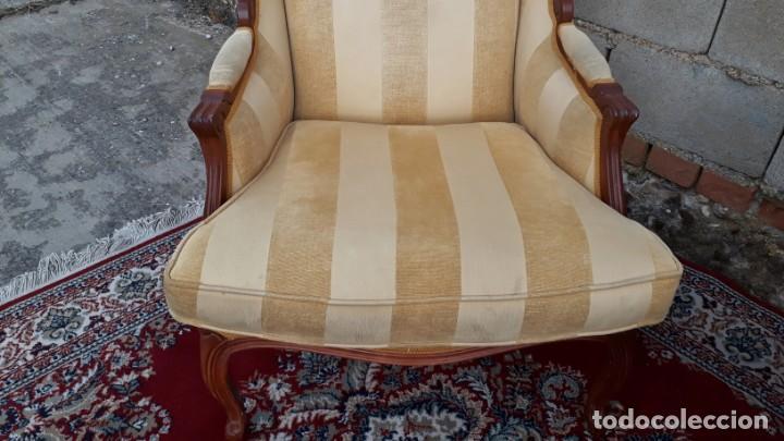 Antigüedades: 2 sillones orejeros antiguos estilo Luis XV. Pareja de butacas orejeras antiguas vintage. - Foto 6 - 221607332