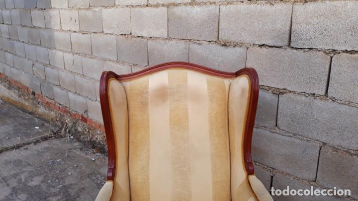 Antigüedades: 2 sillones orejeros antiguos estilo Luis XV. Pareja de butacas orejeras antiguas vintage. - Foto 7 - 221607332