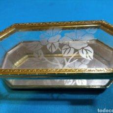 Antigüedades: CAJA JOYERO METAL Y CRISTAL. Lote 221607353