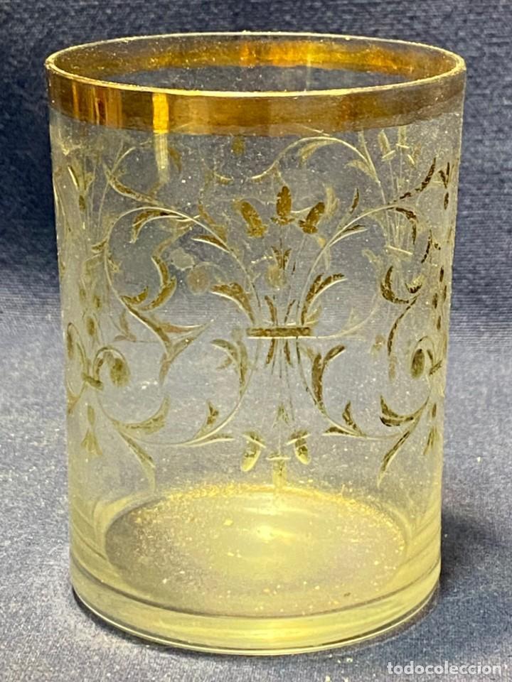 Antigüedades: vaso vidro tallado dorado tipo granja s xix grabado rueda 9x6,5cms - Foto 14 - 221608877