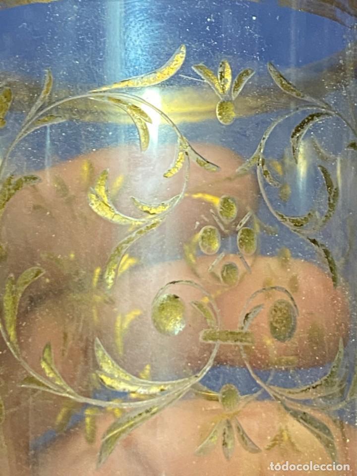 Antigüedades: vaso vidro tallado dorado tipo granja s xix grabado rueda 9x6,5cms - Foto 7 - 221608877