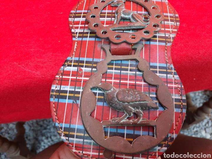 Antigüedades: Collar de cuero con medallas de bronce - Foto 3 - 221616966