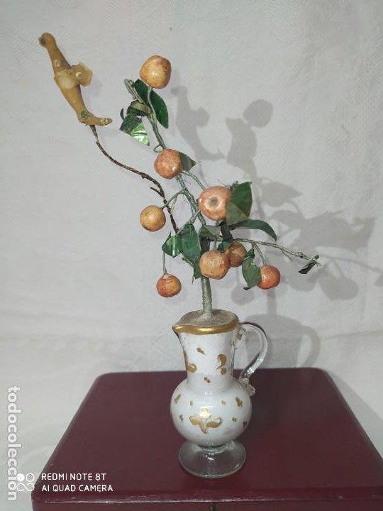 PEQUEÑA JARRA DE CRISTAL DE LA GRANJA CON APLICACIÓN VEGETAL (Antigüedades - Cristal y Vidrio - La Granja)