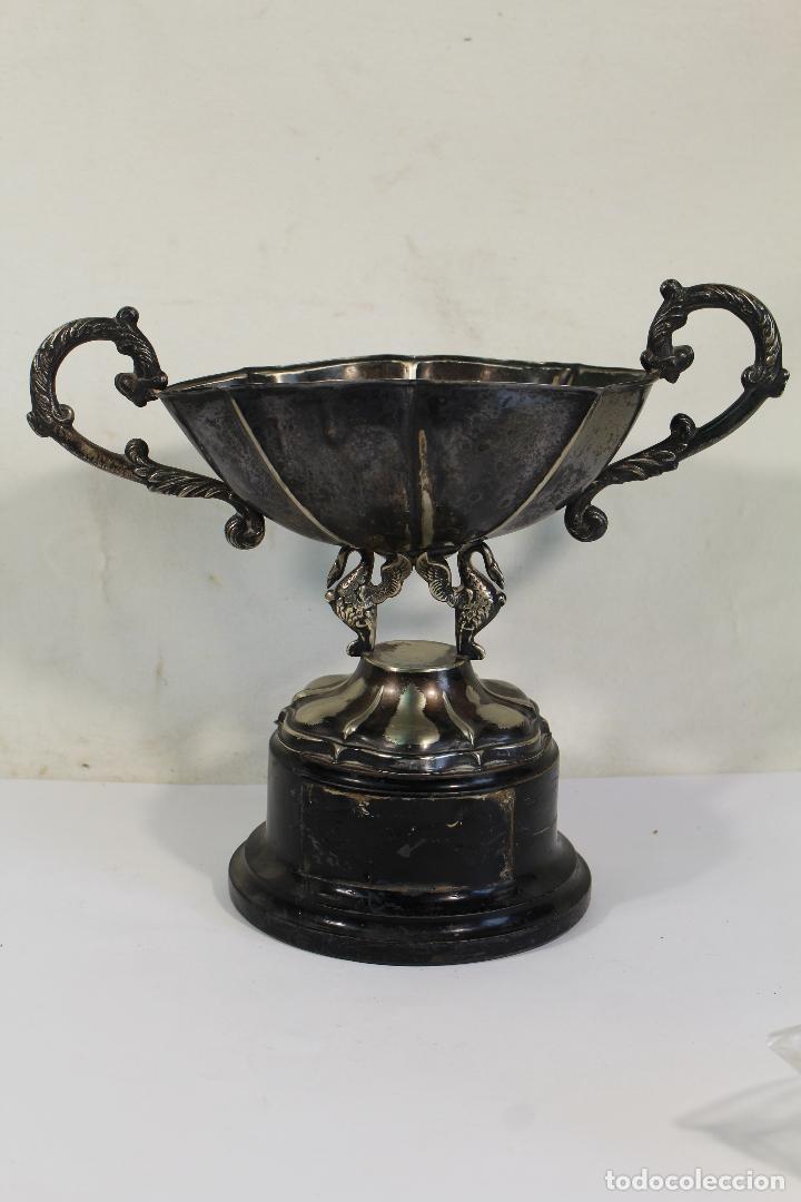 Antigüedades: copa trofeo de alpaca - Foto 4 - 221632283
