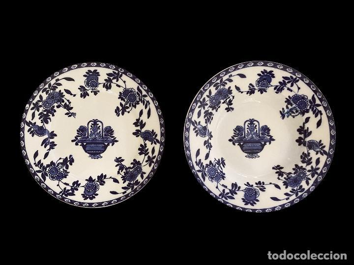 DOS ANTIGUOS PLATOS AZULES DE SAN JUAN DE AZNALFARACHE, SERIE INDIA, IMPECABLES. (Antigüedades - Porcelanas y Cerámicas - San Juan de Aznalfarache)