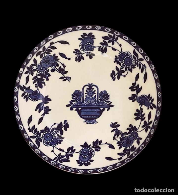 Antigüedades: Dos antiguos platos azules de San Juan de Aznalfarache, serie India, impecables. - Foto 2 - 221651686