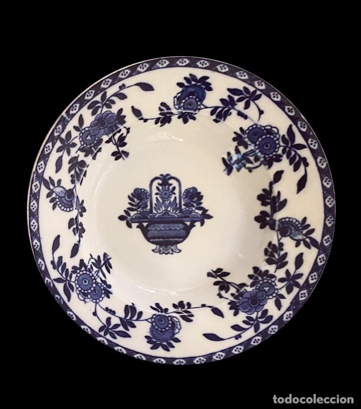 Antigüedades: Dos antiguos platos azules de San Juan de Aznalfarache, serie India, impecables. - Foto 3 - 221651686