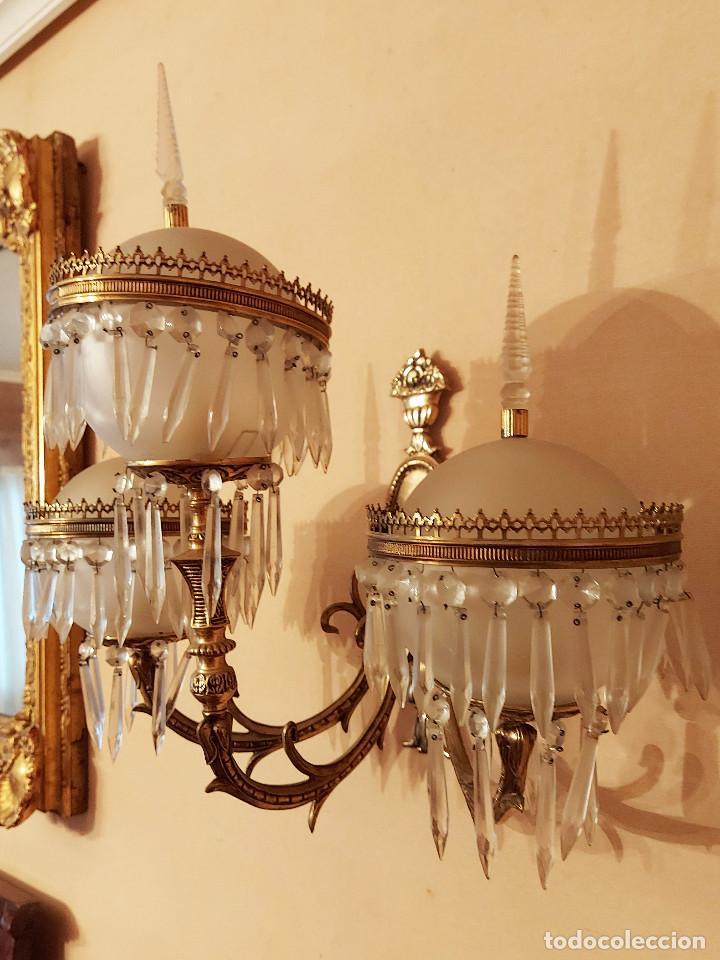 Antigüedades: APLIQUE BRONCE Y LATON TULIPAS DE BOLAS Y LAGRIMAS DE CRISTAL - Foto 8 - 221678053