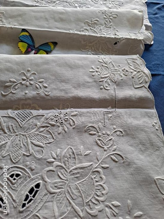 Antigüedades: Magnifico Camino mesa/mueble Antiquo. Lino BLANCO.Bordado a mano totalmente 40 x 105 cm.nuevo - Foto 14 - 221695538