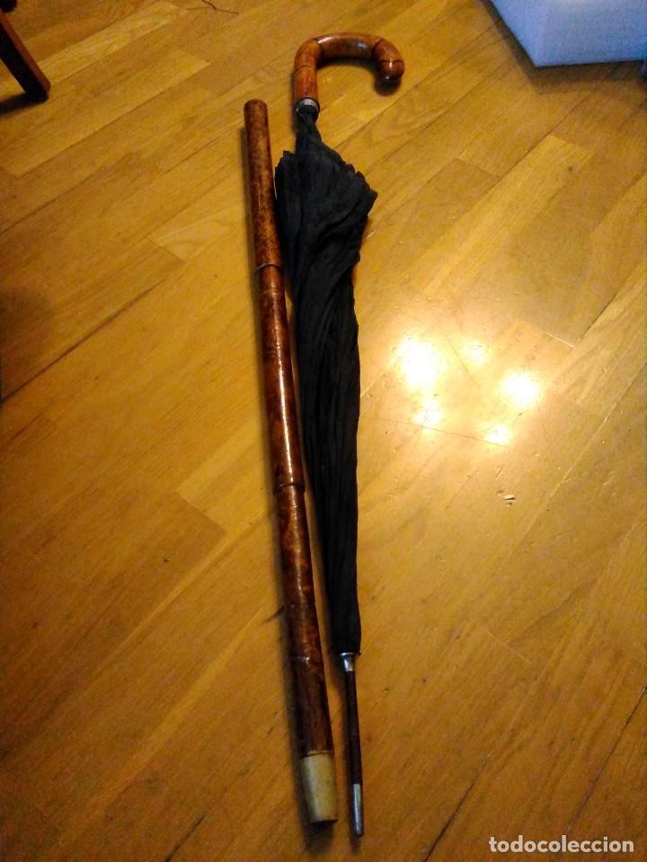 BASTÓN PARAGUAS ANTIGUO DOBLE USO (Antigüedades - Moda - Bastones Antiguos)