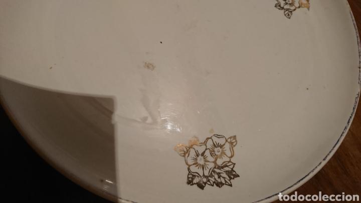 Antigüedades: Antiguo plato cerámica, de 24 cm, dibujo oro, San Claudio, Oviedo 3-68 - Foto 3 - 221704113