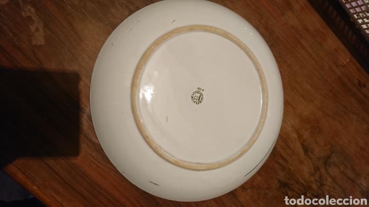 Antigüedades: Antiguo plato cerámica, de 24 cm, dibujo oro, San Claudio, Oviedo 3-68 - Foto 5 - 221704113