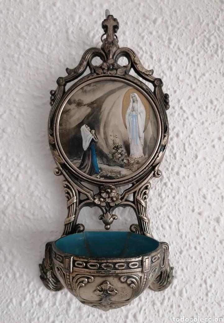 Antigüedades: Antigua benditera Virgen Lourdes. - Foto 2 - 221720751