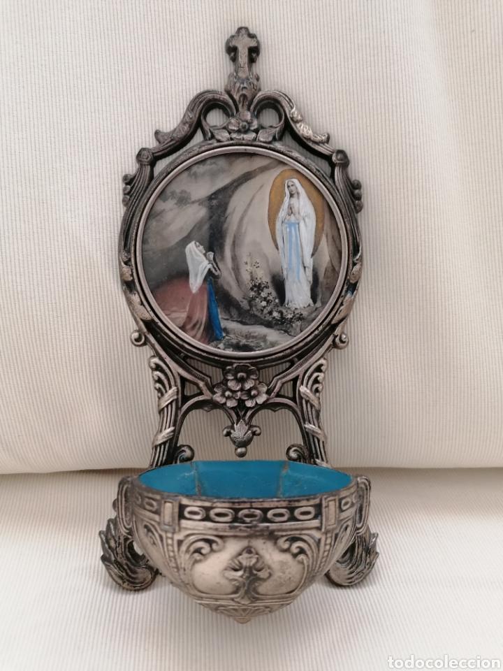 Antigüedades: Antigua benditera Virgen Lourdes. - Foto 7 - 221720751