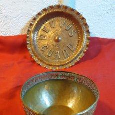 Antigüedades: ANTIGUA FUENTE Y PLATO DE COBRE. Lote 221727155