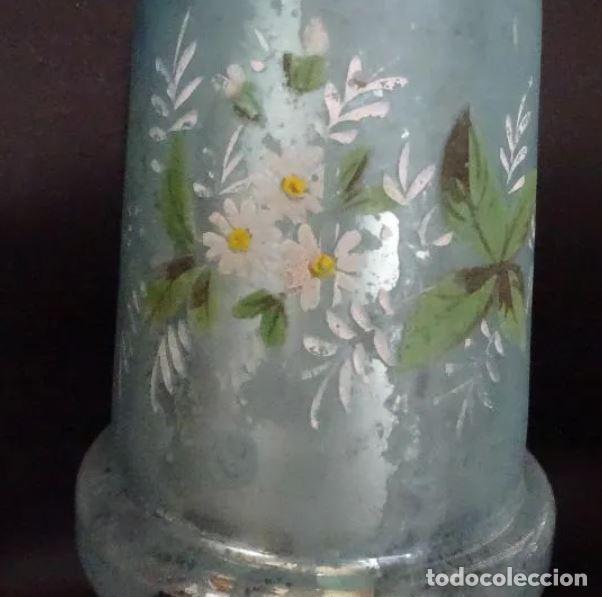 Antigüedades: jarron cristal La Granja, siglo XIX, pintado a mano, bucaro, jarra - Foto 3 - 221744085