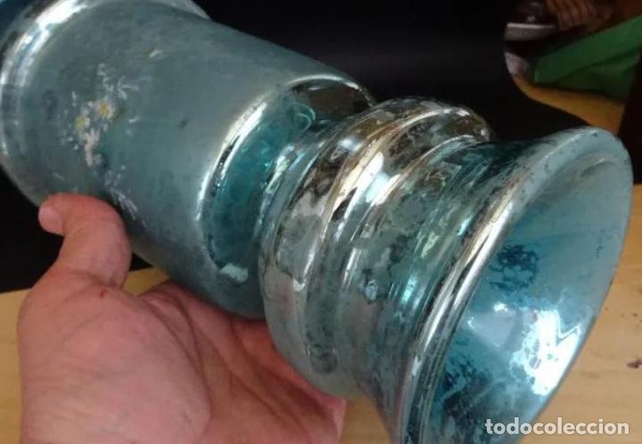 Antigüedades: jarron cristal La Granja, siglo XIX, pintado a mano, bucaro, jarra - Foto 5 - 221744085