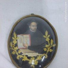 Antigüedades: ANTIGUO Y PRECIOSO RELICARIO DEL S. XIX DE SAN IGNACIO DE LOYOLA CRISTAL ABOMBADO. Lote 221744710
