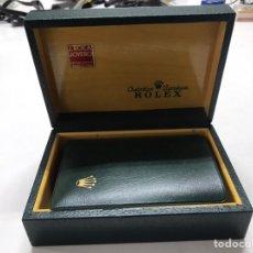 Antigüedades: CAJA FORRADA EN PIEL Y TARJETERO ROLEX. Lote 221750027