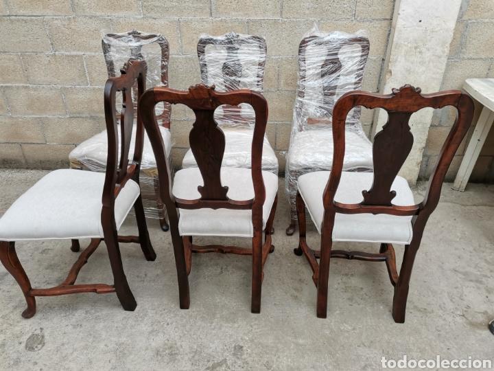 Antigüedades: 6 sillas reina Ana del xviii - Foto 5 - 221753215