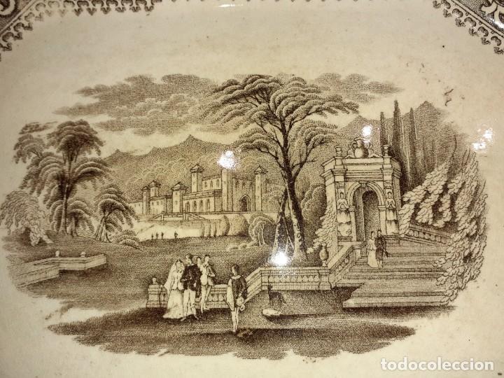 Antigüedades: Preciosa bandeja escenas romanticas, sello San Juan Aznalfarache S.XIX. - Foto 7 - 221761597