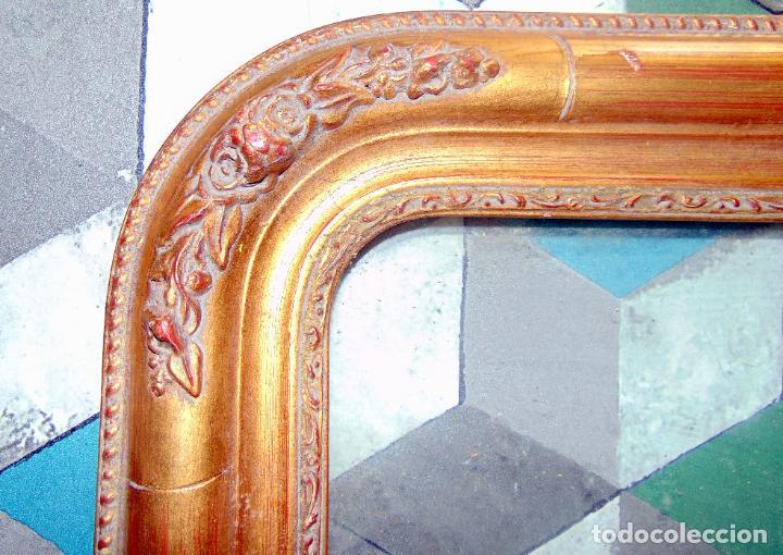Antigüedades: pareja marcos, siglo xix, madera y estuco, pan de oro, ideales para grabados, ver fotos y medidas.w - Foto 3 - 233507035