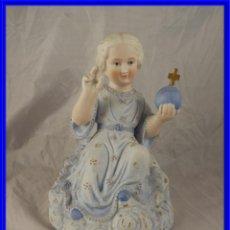 Antigüedades: FIGURA DE PORCELANA BISCUIT COLOREADO NIÑO JESUS. Lote 221794386